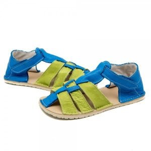Kids Minimalist Sandals Marlin Green and Blue in Vegetable Tanned Leather