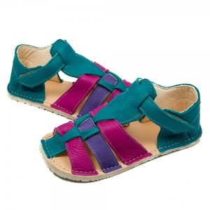 Kids Minimalist Sandals Marlin Turquoise, Purple and Pink in Vegetable Tanned Leather
