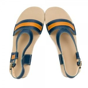 Women's Flat Sandals Anemone Blue and Camel
