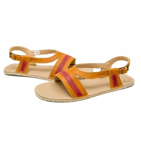 Women's Barefoot Sandals Anemone Camel and Red