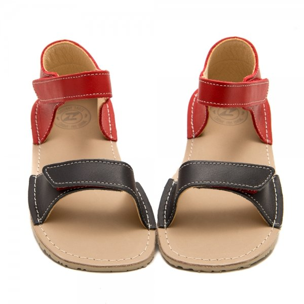 Barefoot Sandals for Girls Ariel Grey and Red