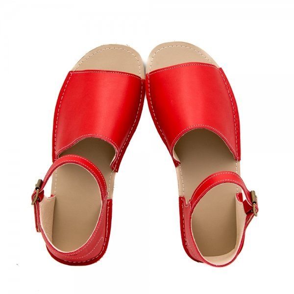 Women's Flat Red Sandals Coral