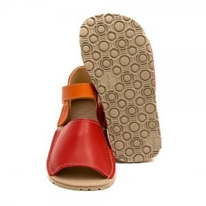 Kids Minimalist Sandals Coral Red and Orange