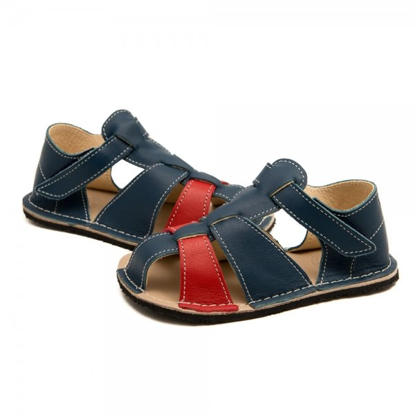 Toddler Barefoot Sandals Goby Blue and Red