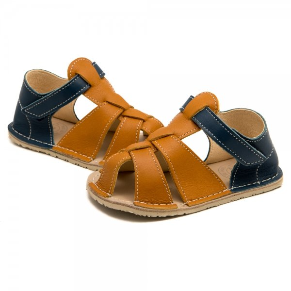 Toddler Barefoot Sandals Goby Camel and Blue