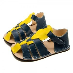Kids Minimalist Sandals Marlin Blue and Yellow