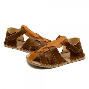Kids Minimalist Sandals Marlin Brown and Camel