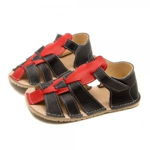 Kids Minimalist Sandals Marlin Grey and Red