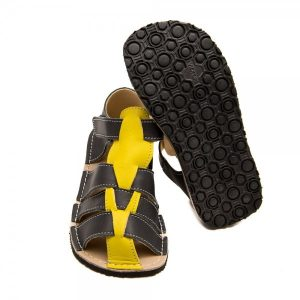 Kids Minimalist Sandals Marlin Grey and Yellow