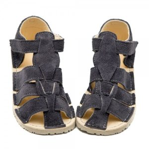 Kids Minimalist Sandals Marlin Grey Suede in Vegetable Tanned Leather
