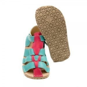 Kids Minimalist Sandals Marlin Sea Blue and Coral Pink
