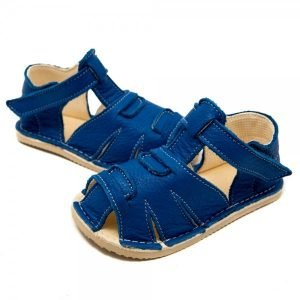 Kids Minimalist Sandals Shell Blue in Vegetable Tanned Leather