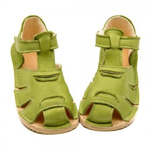 Kids Minimalist Sandals Shell Green in Vegetable Tanned Leather