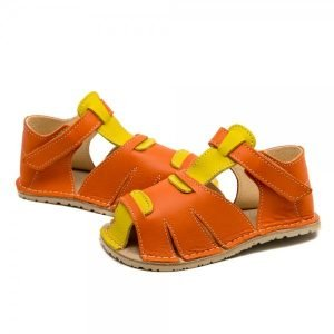 Kids Minimalist Sandals Shell Orange and Yellow