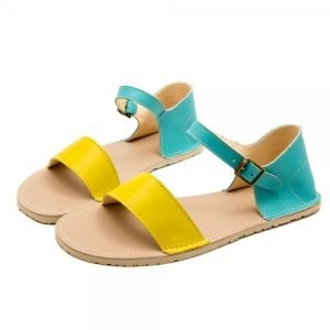 Women Flat Sandals Siren Sea Blue and Yellow