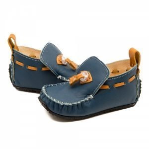 Kids Moccasins Tiger in Blue and Camel