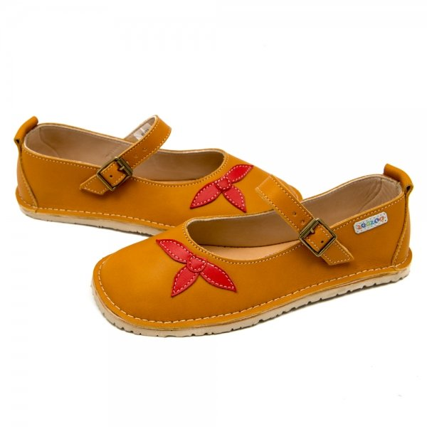 Mary Jane shoes for girls in camel leather with flowers