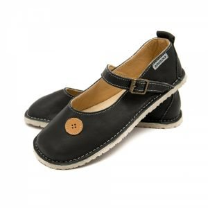 Mary Jane shoes for girls in dark grey with buttons