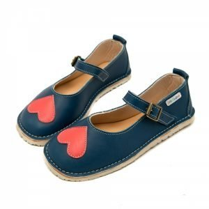 Mary Jane shoes for girls in blue with a heart