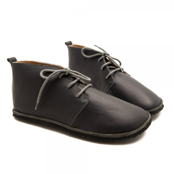 Leather Barefoot Shoes for Work Pelican Grey