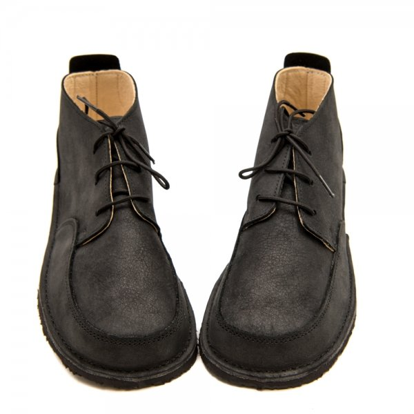 Black School Shoes Fox in Waterproof Leather with Laces