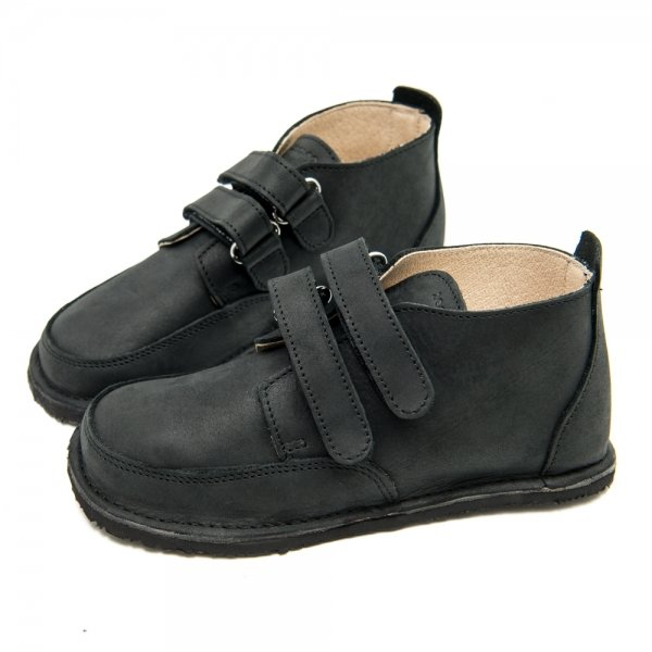 Black School Shoes Fox in Waterproof Leather with Velcro Straps