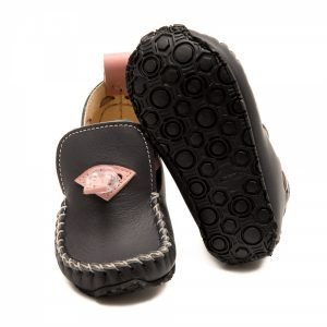 Girls Moccasins Tiger in Grey and Pink