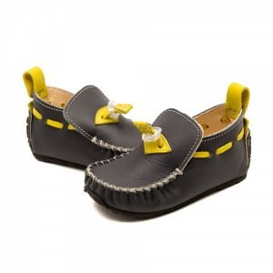 Kids Moccasins Tiger in Grey and Yellow