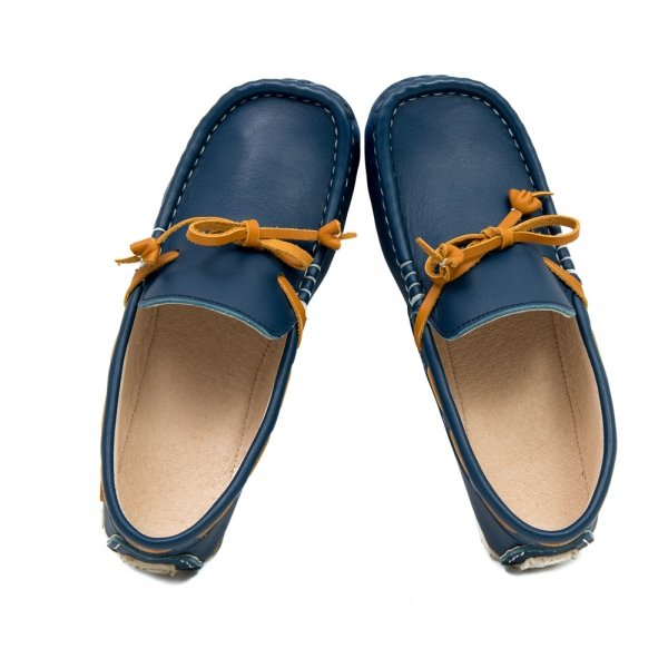 Women's leather moccasins Cheetah in blue and camel