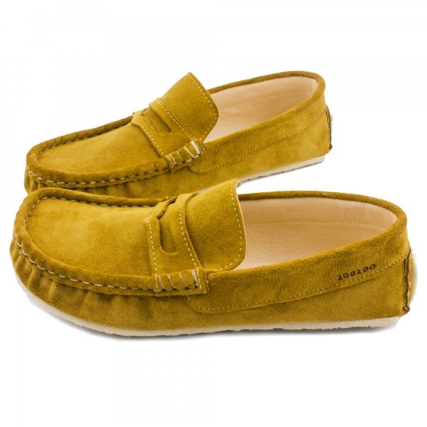 Mustard leather loafers Cheetah