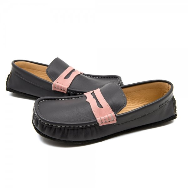 Women's leather moccasins Cheetah grey and pink