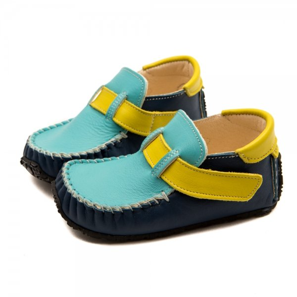 Toddler moccasins for boys Leo in blue and yellow