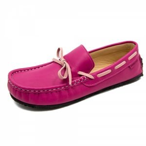 Fuchsia leather loafers Cheetah