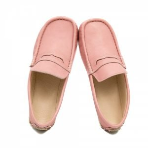 Pink leather loafers Cheetah