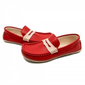 Red leather loafer Cheetah