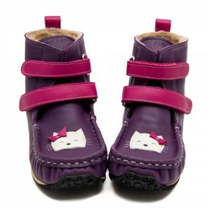 Barefoot boots in waterproof leather Yeti Purple and Fuchsia with a kitty