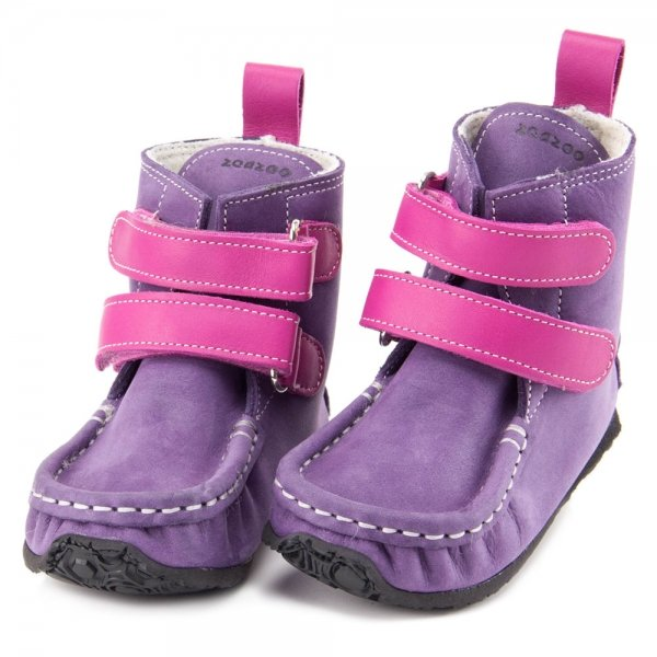Barefoot boots in waterproof leather Yeti Purple and Fuchsia