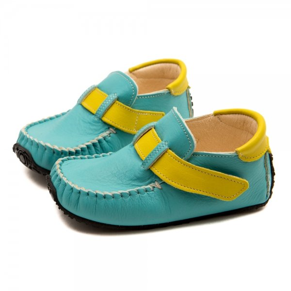 Shoe moccasins for boys Leo in blue and yellow
