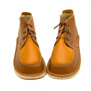Barefoot boots Fox in brown and camel with laces