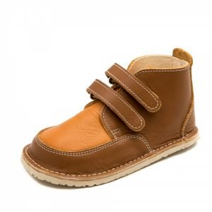 Barefoot boots Fox in brown and camel with velcro straps