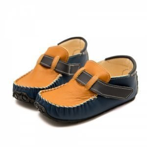 Boy leather moccasins Leo in camel and blue