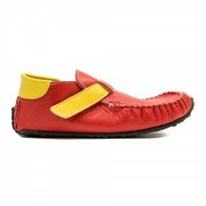 Moccasins for kids Leo in red and yellow