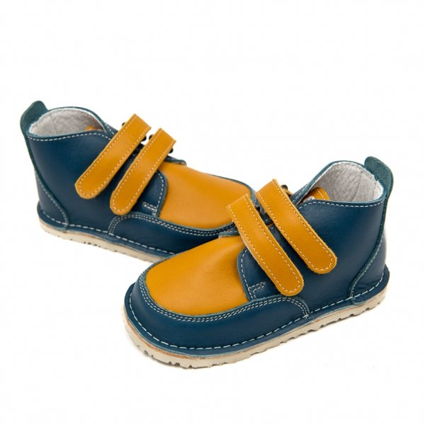 Barefoot boots Fox in blue and camel with velcro straps