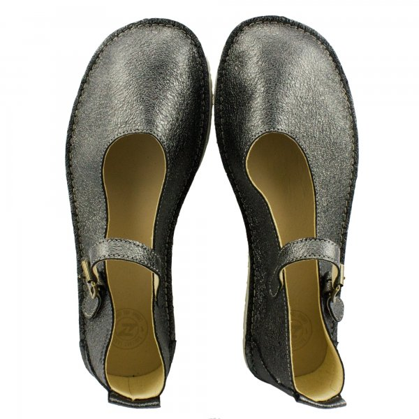 Barefoot Mary Jane Flats in Dazzling Silver