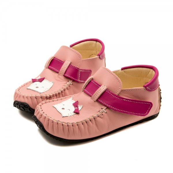Pink Moccasins for Toddlers Leo with Kitty